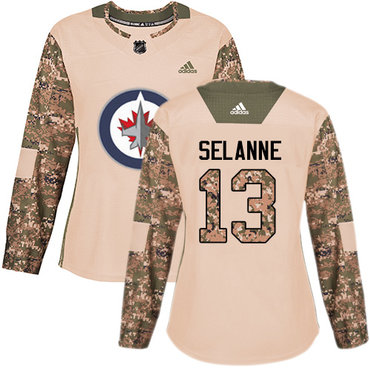 Adidas Jets #13 Teemu Selanne Camo Authentic 2017 Veterans Day Women's Stitched NHL Jersey