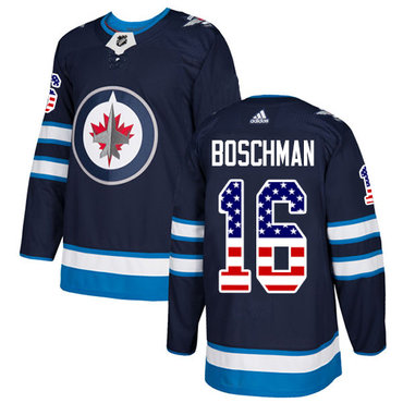 Adidas Jets #16 Laurie Boschman Navy Blue Home Authentic USA Flag Stitched NHL Jersey