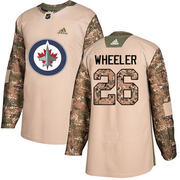 Adidas Jets #26 Blake Wheeler Camo Authentic 2017 Veterans Day Stitched NHL Jersey
