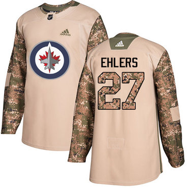Adidas Jets #27 Nikolaj Ehlers Camo Authentic 2017 Veterans Day Stitched NHL Jersey