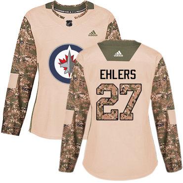 Adidas Jets #27 Nikolaj Ehlers Camo Authentic 2017 Veterans Day Women's Stitched NHL Jersey
