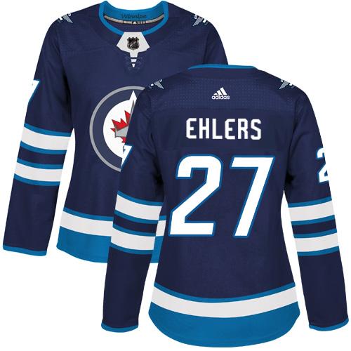 Adidas Jets #27 Nikolaj Ehlers Navy Blue Home Authentic Women's Stitched NHL Jersey