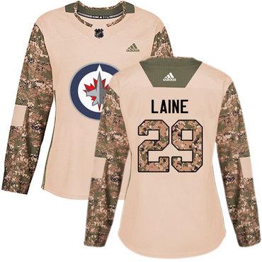 Adidas Jets #29 Patrik Laine Camo Authentic 2017 Veterans Day Women's Stitched NHL Jersey