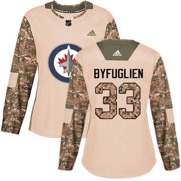 Adidas Jets #33 Dustin Byfuglien Camo Authentic 2017 Veterans Day Women's Stitched NHL Jersey