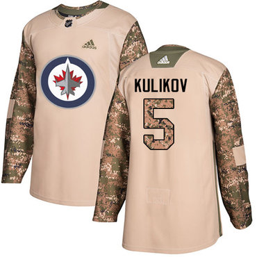 Adidas Jets #5 Dmitry Kulikov Camo Authentic 2017 Veterans Day Stitched NHL Jersey