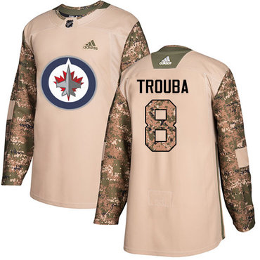 Adidas Jets #8 Jacob Trouba Camo Authentic 2017 Veterans Day Stitched NHL Jersey