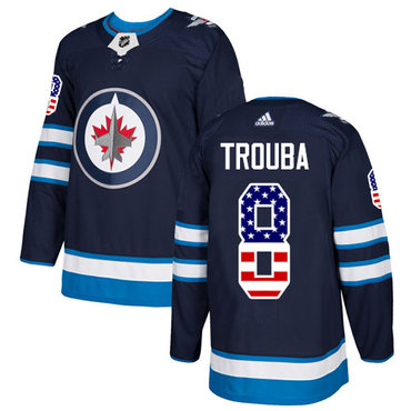 Adidas Jets #8 Jacob Trouba Navy Blue Home Authentic USA Flag Stitched NHL Jersey