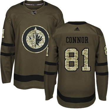 Adidas Jets #81 Kyle Connor Green Salute to Service Stitched NHL Jersey