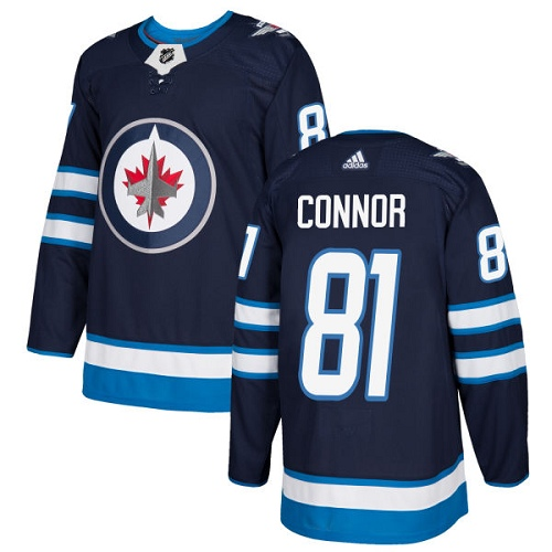 Adidas Jets #81 Kyle Connor Navy Blue Home Authentic Stitched NHL Jersey
