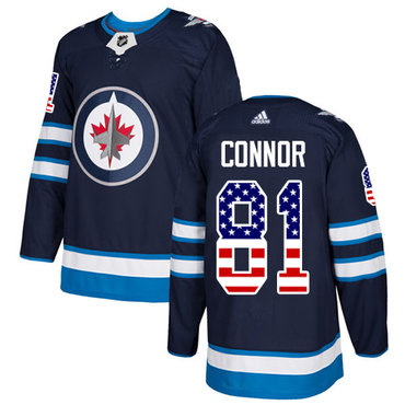 Adidas Jets #81 Kyle Connor Navy Blue Home Authentic USA Flag Stitched NHL Jersey