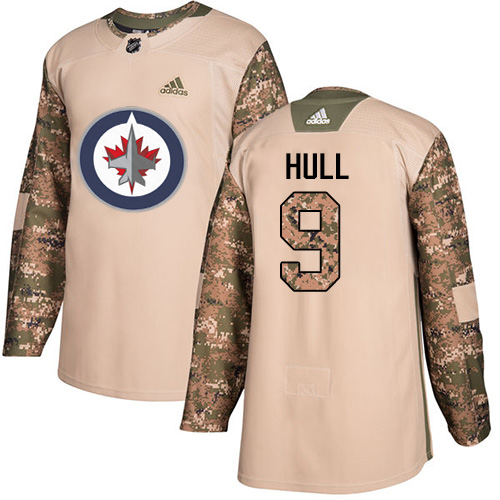 Adidas Jets #9 Bobby Hull Camo Authentic 2017 Veterans Day Stitched NHL Jersey