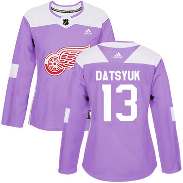 Adidas Red Wings #13 Pavel Datsyuk Purple Authentic Fights Cancer Women's Stitched NHL Jersey