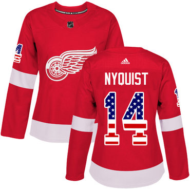Adidas Red Wings #14 Gustav Nyquist Red Home Authentic USA Flag Women's Stitched NHL Jersey