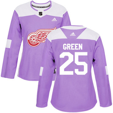 Adidas Red Wings #25 Mike Green Purple Authentic Fights Cancer Women's Stitched NHL Jersey