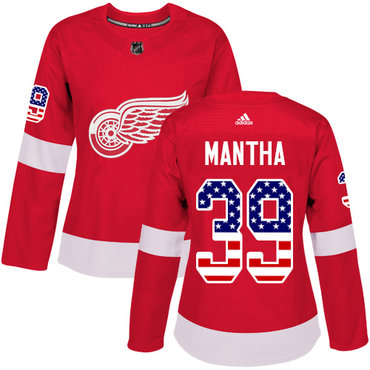 Adidas Red Wings #39 Anthony Mantha Red Home Authentic USA Flag Women's Stitched NHL Jersey