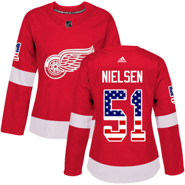 Adidas Red Wings #51 Frans Nielsen Red Home Authentic USA Flag Women's Stitched NHL Jersey