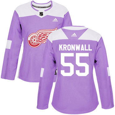 Adidas Red Wings #55 Niklas Kronwall Purple Authentic Fights Cancer Women's Stitched NHL Jersey