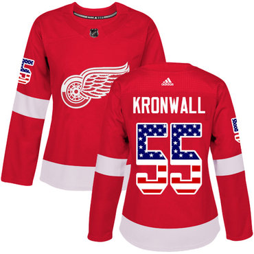 Adidas Red Wings #55 Niklas Kronwall Red Home Authentic USA Flag Women's Stitched NHL Jersey