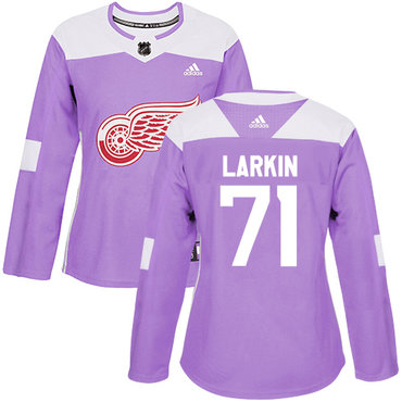 Adidas Red Wings #71 Dylan Larkin Purple Authentic Fights Cancer Women's Stitched NHL Jersey