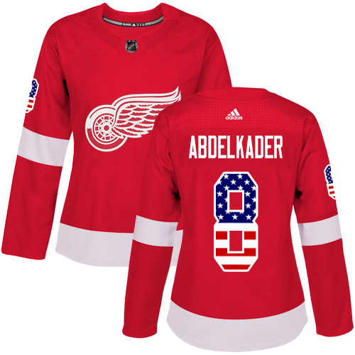 Adidas Red Wings #8 Justin Abdelkader Red Home Authentic USA Flag Women's Stitched NHL Jersey