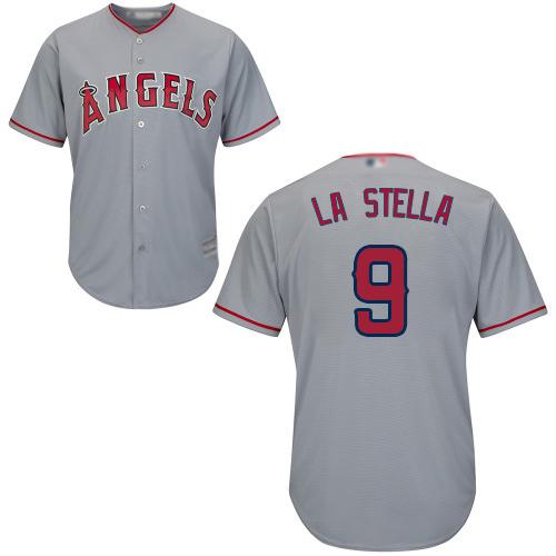 Angels #9 Tommy La Stella Grey Cool Base Stitched Youth Baseball Jersey