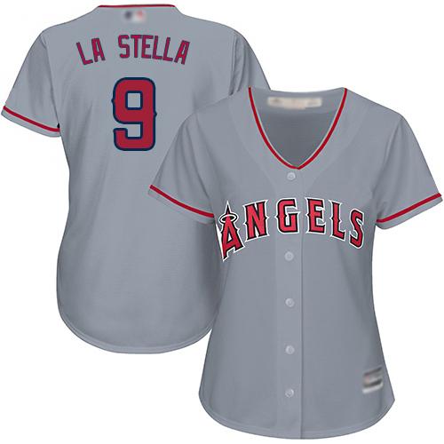 Angels #9 Tommy La Stella Grey Road Women's Stitched Baseball Jersey