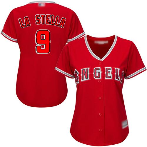 Angels #9 Tommy La Stella Red Alternate Women's Stitched Baseball Jersey
