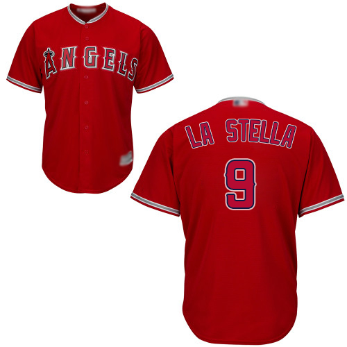 Angels #9 Tommy La Stella Red Cool Base Stitched Youth Baseball Jersey