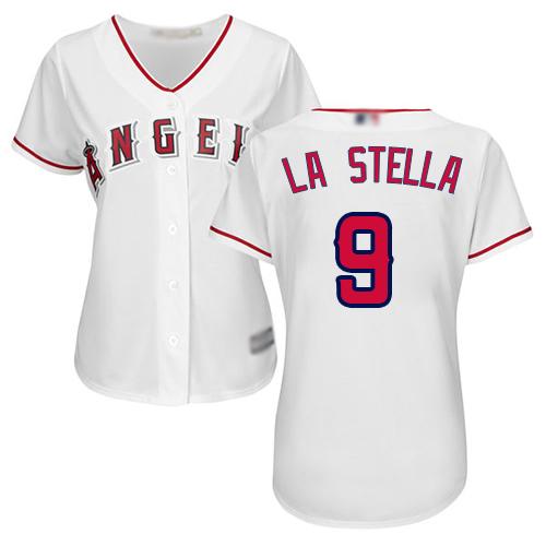 Angels #9 Tommy La Stella White Home Women's Stitched Baseball Jersey