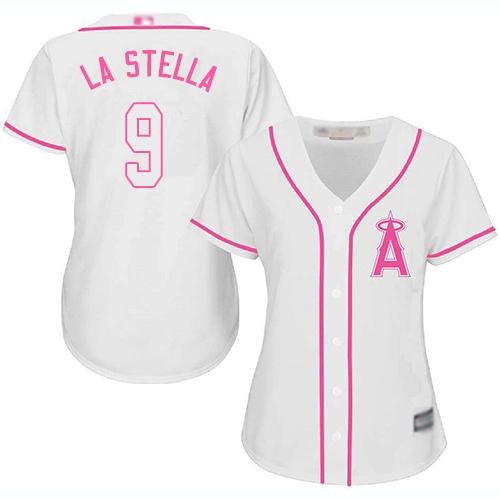 Angels #9 Tommy La Stella White Pink Fashion Women's Stitched Baseball Jersey
