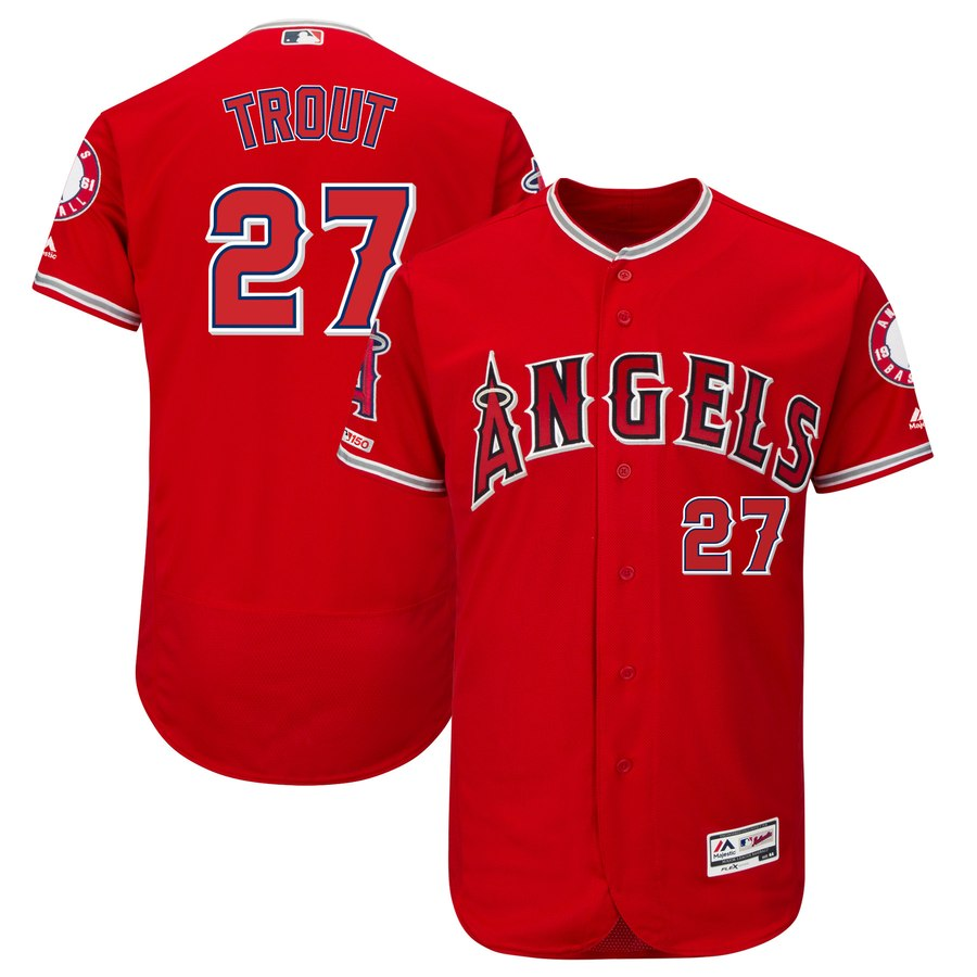 Angels 27 Mike Trout Scarlet 150th Patch Flexbase Jersey