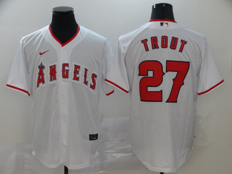 Angels 27 Mike Trout White 2020 Nike Cool Base Jersey