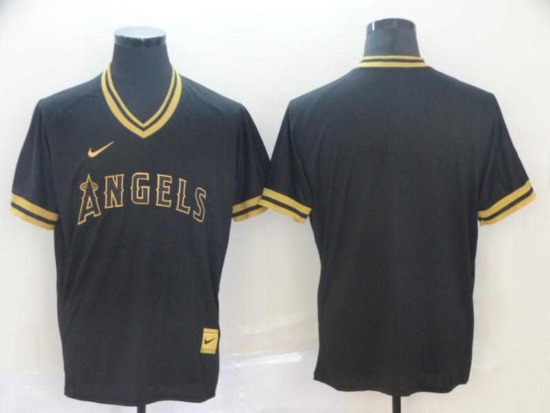 Angels Blank Black Gold Nike Cooperstown Collection Legend V Neck Jersey