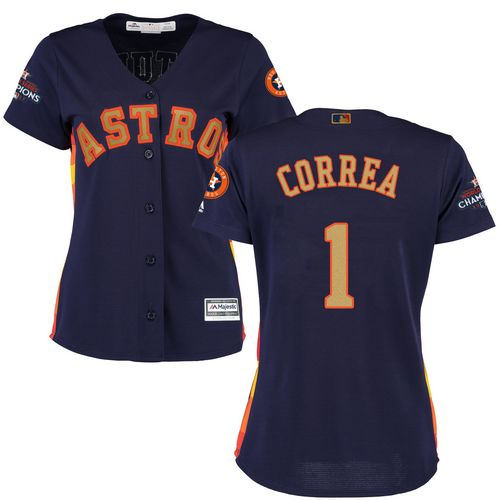 Astros #1 Carlos Correa Navy Blue 2018 Gold Program Cool Base Women's Stitched MLB Jersey