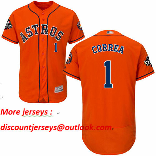 Astros #1 Carlos Correa Orange Flexbase Authentic Collection 2019 World Series Bound Stitched Baseball Jersey