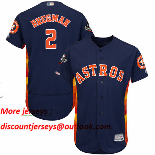 Astros #2 Alex Bregman Navy Blue Flexbase Authentic Collection 2019 World Series Bound Stitched Baseball Jersey