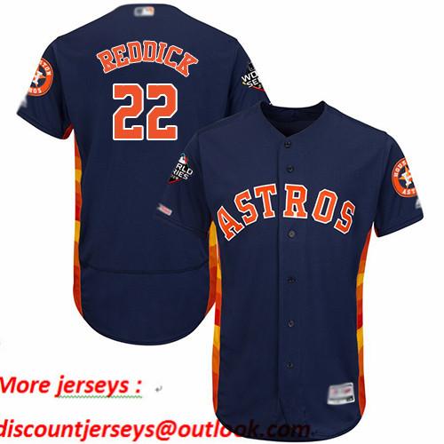 Astros #22 Josh Reddick Navy Blue Flexbase Authentic Collection 2019 World Series Bound Stitched Baseball Jersey