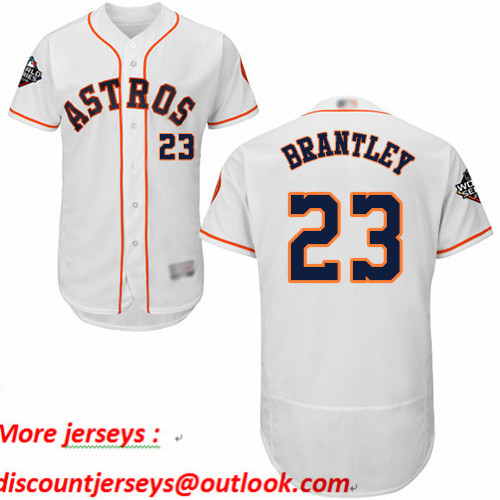 Astros #23 Michael Brantley White Flexbase Authentic Collection 2019 World Series Bound Stitched Baseball Jersey