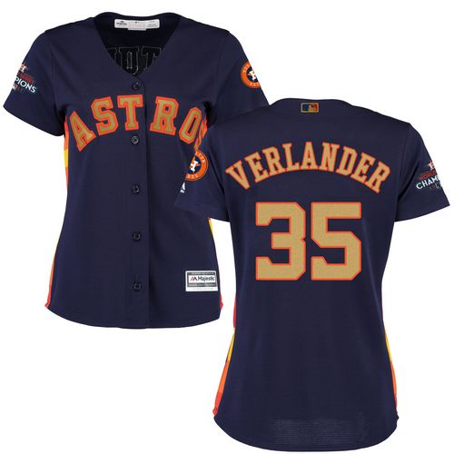 Astros #35 Justin Verlander Navy Blue 2018 Gold Program Cool Base Women's Stitched MLB Jersey