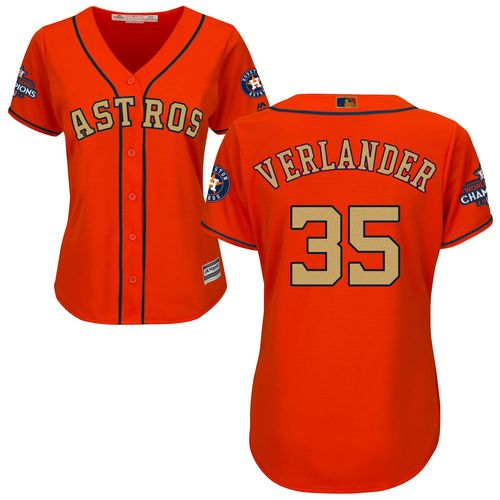 Astros #35 Justin Verlander Orange 2018 Gold Program Cool Base Women's Stitched MLB Jersey