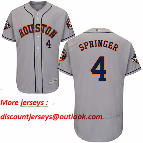 Astros #4 George Springer Grey Flexbase Authentic Collection 2019 World Series Bound Stitched Baseball Jersey