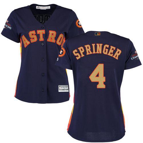 Astros #4 George Springer Navy Blue 2018 Gold Program Cool Base Women's Stitched MLB Jersey