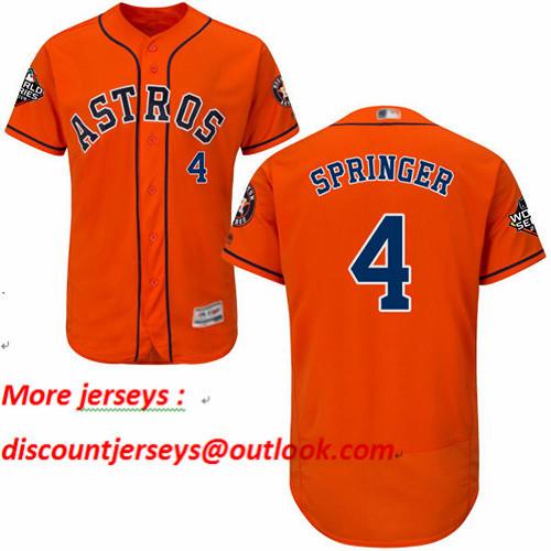 Astros #4 George Springer Orange Flexbase Authentic Collection 2019 World Series Bound Stitched Baseball Jersey