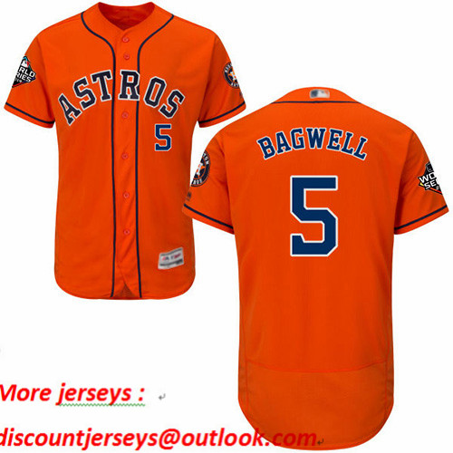 Astros #5 Jeff Bagwell Orange Flexbase Authentic Collection 2019 World Series Bound Stitched Baseball Jersey