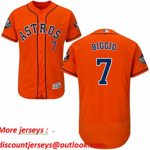 Astros #7 Craig Biggio Orange Flexbase Authentic Collection 2019 World Series Bound Stitched Baseball Jersey