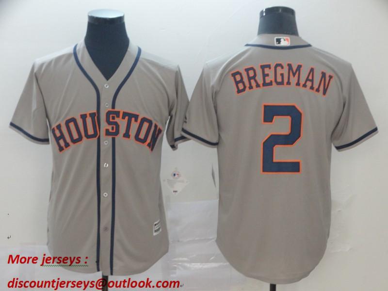 Astros 2 Alex Bregman Gray Cool Base Jersey