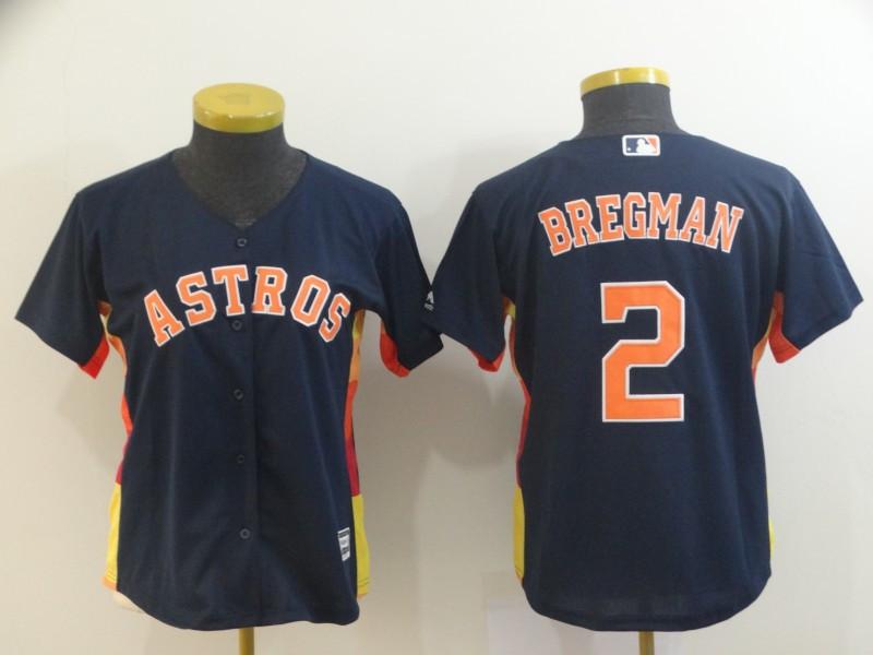 Astros 2 Alex Bregman Navy Women Cool Base Jersey