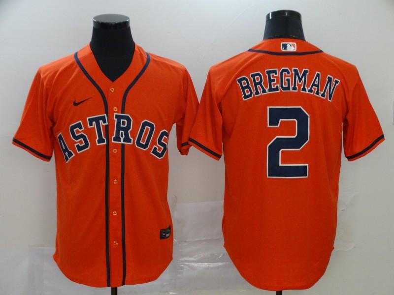 Astros 2 Alex Bregman Orange 2020 Nike Cool Base Jersey
