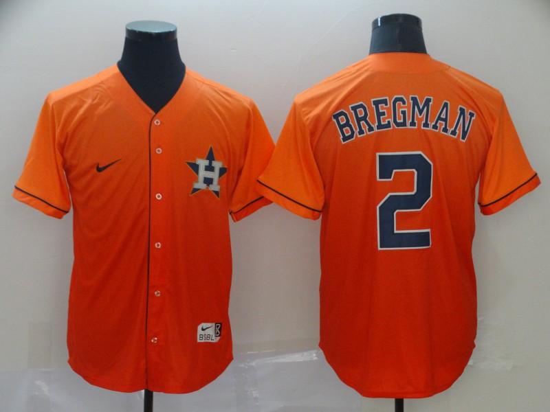 Astros 2 Alex Bregman Orange Drift Fashion Jersey
