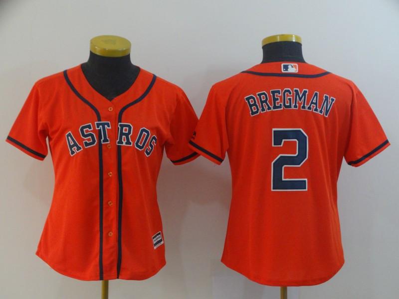 Astros 2 Alex Bregman Orange Women Cool Base Jersey